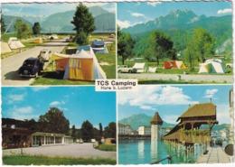 Horw B. Luzern: PEUGEOT 403, 203, HILLMAN MINX IV '49, TENTES - TCS CAMPING PLATZ - (Suisse/Schweiz) - Passenger Cars