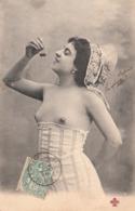 Très JOLIE CARTE FEMME Dénudée Aux Cerises-1904-TBE - Femmes