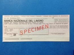 ASSEGNO PER EMIGRATI BANCA NAZIONALE DEL LAVORO SPECIMEN CHEQUE - Cheques En Traveller's Cheques