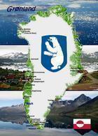 Greenland Country Map New Postcard Grönland Landkarte AK - Grönland
