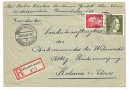SK424 - MULHAUSEN (ELS) PFASTATT SCHLOSS - 1943 - Recommandé Tarif 42 Pfg - - Elsass-Lothringen