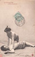 Très JOLIE CARTE -LUTTE La Ceinture D'Or Femmes Aux Seins Nus -Tombé Sur Deux épaules-1904 - Femmes