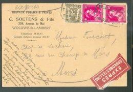 TRAM C.P. Expédiée De WOLUWE-SAINT-LAMBERT Et Déposée Dans La Boîte Du Tram Qui Descend De Woluwe Vers Le Midi, Via Ette - Covers & Documents