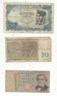 Billet , Europe, Espana 500 Pesetas, 20 Francs Belgique, 1000 Lire Italia, LOT DE 3 BILLETS - Monnaies & Billets