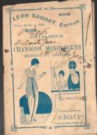 Paris 5e : Rue Des Carmes: Catalogue LEON BODOT Chansons Monologues Musique Librairie 1920 (PPP11361) - Old Paper