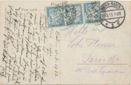 """FRANKREICH 1913 5C Portomarken 3er-Streifen Selt. MeF AK """"BADEN-BADEN"""" - """"PARIS"""" - Portomarken"""