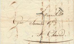 """FRANKREICH 1824, """"P"""" In Umgekehrtes Dreieck, Int. Schwarzer Stempel """"PARIS"""" - Postmark Collection (Covers)"""