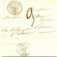 "FRANKREICH ""ORLÉANS"" U Selt. Taxe ""9"" A. Kab.-Vorphilabrief Nach ""LADON"" K2 1846 - Postmark Collection (Covers)"