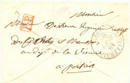 "FRANKREICH ""CHÂTELLERAULT"" K2 U Roter RA1 ""P.P."" A. Pra-Vorphila-Briefhülle 1840 - Postmark Collection (Covers)"