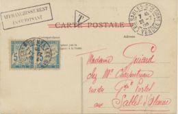 FRANKREICH 1905 Porto 5 C (Paar) A. PARIS-AK Vorderseitig M. 5 C. (Mi-Nr. 90) - Portomarken