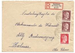 SK448 - STEINBACH (KR THANN ELS) - 1943 - Recommandé Tarif 42 Pfg - - Marcophilie (Lettres)