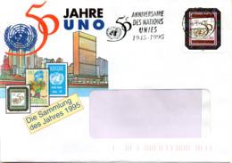 """(Bu-B4) UNO Genf Werbe-Beleg """"Die Sammlung Des Jahres - 50 Jahre UNO"""" EF Mi 262, WSt 9.3.1995 VEREINTE NATIONEN GENEVA - Genf - Büro Der Vereinten Nationen"""