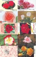 10 Télécartes - Prepaid Différentes JAPON * FLEURES * ROSES (LOT A-72) JAPAN 10 DIFF FLOWERS PHONECARDS * 10 VERSCH TK - Flores