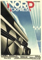 Illustrateur A M CASSANDRE  TRAIN  NORD EXPRESS  Londres Bruxelles Paris Liege Berlin Varsovie Riga RV - Treni