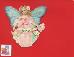 Joli Chromo Decoupis Petite Fille Enfant Papillon Ruban Marguerite En Très Bel état 8x 8,5 Cm - Children
