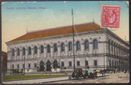 CPA - (Etats Unis) Public Library, Boston, Mass. (abimée) - Boston