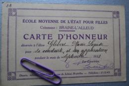 BRAINE-L'ALLEUD : Carte D'honneur 1933 - Sonstige