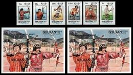 Bhutan 1986 - Mi-Nr. 968-973 & Block 127-128 ** - MNH - Olympia Los Angeles - Bhutan