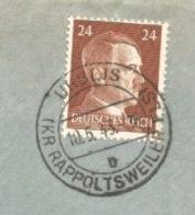SK473 - URBEIS (KR RAPPOLTSWEILER ELS) - 1943 - ORBEY - Tarif Double Port 24 Pfg - - Marcophilie (Lettres)