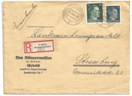 SK474 - URBEIS (KR RAPPOLTSWEILER ELS) - 1944 - ORBEY - Entête Mairie - Tarif Recommandé Double Port 54 Pfg - - Marcophilie (Lettres)
