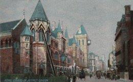 1907 Colour Card (earlier Image!) Fire Escape Ladder Against Royal Courts Justice Strand London - Firemen