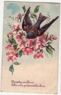 """5588 - Cp Fantaisie - """" Acceptez Ces Fleurs Elles Vous Porterons Bonheur """" ( Hirondelle ) - J.C. à Paris N°503 - - Fantaisies"""