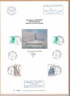 """AN - Patrouilleur """"ALBATROS"""" Sur Encart Illustré Départ De TOULON 24.2.1983 - Signature De"""" TIFINE """" Cachets Divers - - Terres Australes Et Antarctiques Françaises (TAAF)"""