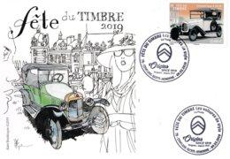 Carte Postale Souvenir 1er Jour (2 Cachets Datés) Fête Du Timbre 2019 à Conflans Sainte Honorine - Autres
