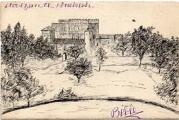 CPA  Artisanale Dessinée A La Main - Chateau - Adressée A Melle De Baroncelli Javon (Félibrige)  (116590) - Peintures & Tableaux