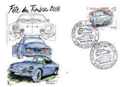 Carte Postale Souvenir 1er Jour (2 Cachets Datés) Fête Du Timbre 2018 à Conflans Sainte Honorine - Autres
