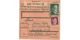 Colis Postal  -  De Köln - Deutz  - Pour Genweiler ( Guenviller ) - Germany