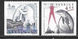 Suède 1991 N°1649/1650 Neufs Norden Zoo Avec Ours Blanc Et Dauphin - Nuevos