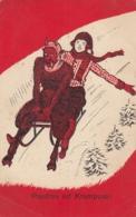 VINTAGE KRAMPUS DEVIL ST NICHOLAS DAY SLED POSTCARD - Nikolaus
