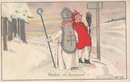VINTAGE KRAMPUS DEVIL ST NICHOLAS POSTCARD SIGNED ANNY TEKAUZ 1926 - Saint-Nicholas Day