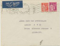 FRANKREICH 1936 Friedensallegorie 50C + 1,75Fr Flugpost-Bf Aero-Club Deutschland - 1927-1959 Storia Postale