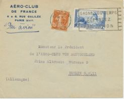 FRANKREICH 1937 Säerin 25C + Windmühle 2Fr FlugpostBf BERLIN Aero-Club De France - 1927-1959 Storia Postale