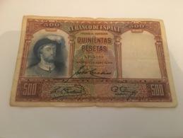 Billet 500 Pesetas Espagne 1931 - [ 2] 1931-1936 : République