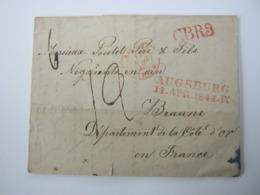 1848 , Brief Mit Inhalt Von Augsburg Nach Frankreich , Transitstempel  CBR3 - Bavaria