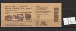 Carnets Marianne De CIAPPA, 12 Timbres , Lettre Verte - Carnets