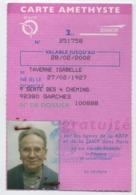 Carte Amethyste /RATP - SNCF /Gratuité/ Garches/ 2éme Classe/Taverne. 2002       AEC178 - Autres Collections