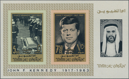 Umm Al Qaiwain: 1965, John F. Kennedy In A Lot With 53 IMPERFORATE Miniature Sheets, Mint Never Hing - Umm Al-Qaiwain