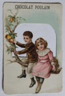 Belle Chromo Gauffrée Avec Découpis Chocolat Poulain 2 Enfants Le Chocolat Du Progrès - Poulain