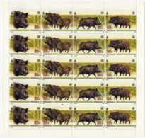 MONGOLIA 2008 RR Sheetlet MNH FAUNA Animals WILD BOARS - Francobolli
