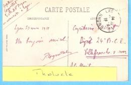 Militaria-1918-CP Lyon-->Militaire (Capitaine) Du Dépôt Du 24e Bataillon De Chasseurs Alpins à Villefranche-sur-Mer - Weltkrieg 1914-18
