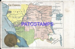 120372 BELGIUM LEOPOLD II DU CONGO MAPA MAP CIRCULATED TO FRANCE POSTAL POSTCARD - Belgique