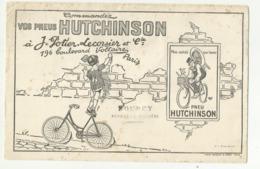 """BUVARD . """"  HUTCHINSON """"  VELO  . COMMENDEZ VOS PNEUS A J. POTIER LECORSIER . PARIS .CACHET"""" DOUCY . PEYRAT LA NONIERE """" - Moto & Bicicletta"""
