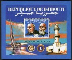DJIBOUTI 1987 BLOC FEUILLET SPECIAL DENTELE SUR PAPIER REPRENANT LE B. F. N°6 SUR FEUILLE DE BOIS **. TB - Disease