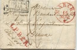 BELGIQUE - CAD ROUGE MARCHE + L.P.B.2.R. +PAYS BAS PAR THIONVILLE SUR LETTRE AVEC TEXTE DE MIRWART POUR LA FRANCE, 1830 - 1815-1830 (Période Hollandaise)