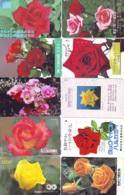 10 Télécartes - Prepaid Différentes JAPON * FLEURES * ROSES (LOT A-75) JAPAN 10 DIFF FLOWERS PHONECARDS * 10 VERSCH TK - Blumen