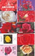 10 Télécartes - Prepaid Différentes JAPON * FLEURES * ROSES (LOT A-77) JAPAN 10 DIFF FLOWERS PHONECARDS * 10 VERSCH TK - Flowers